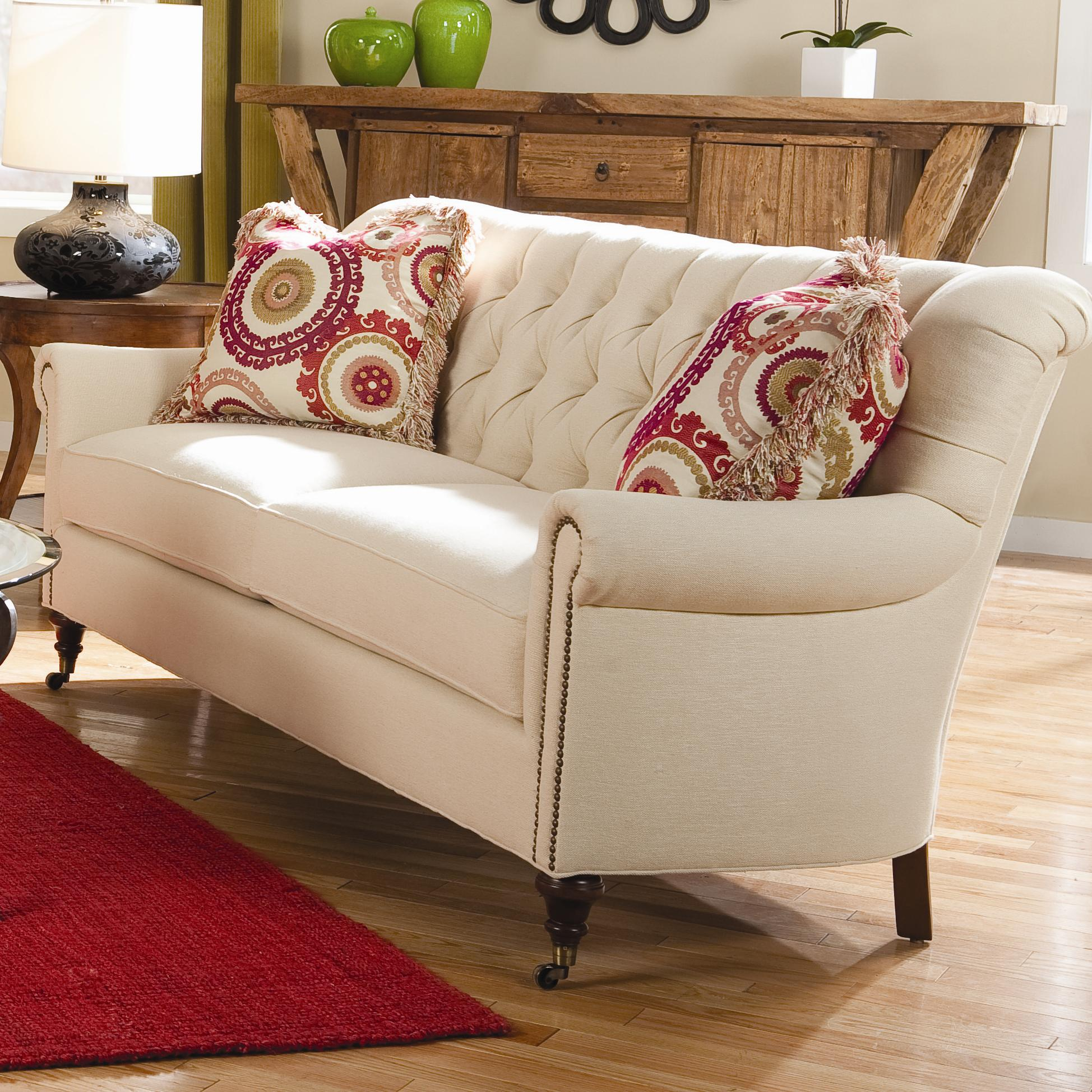 Huntington House 7381 Classic Sofa with Button Tufted Back and