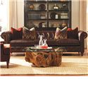 Huntington House Garrick Traditional 109 Inch Leather Sofa with Rolled Arms - Sofa Shown May Not Represent Size Indicated