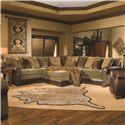 Huntington House 7107 Traditional Sectional Sofa with Nailhead Trim - 7107-53+51+31+51+52