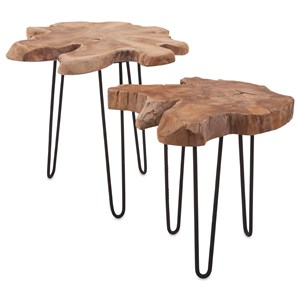 IMAX Worldwide Home Accent Tables and Cabinets Baltra Teak Wood Nesting Tables - Set of 2