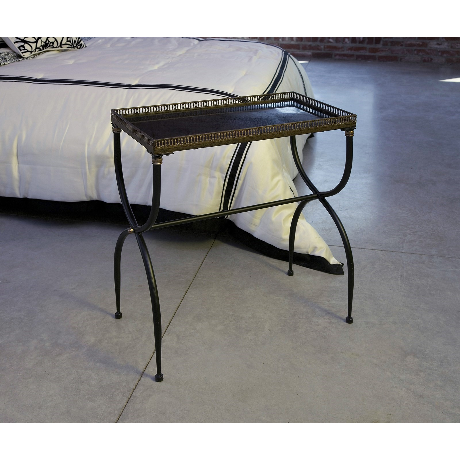 Rectangular Black X-Leg Accent Table