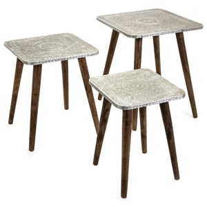 IMAX Worldwide Home Accent Tables and Cabinets Piers Metal Clad Tables - Set of 3