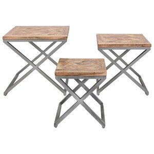 IMAX Worldwide Home Accent Tables and Cabinets Yellen X-Leg Wood Tables - Set of 3