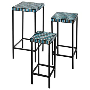 IMAX Worldwide Home Accent Tables and Cabinets Cordelia Glass Mosaic Tables - Set of 3