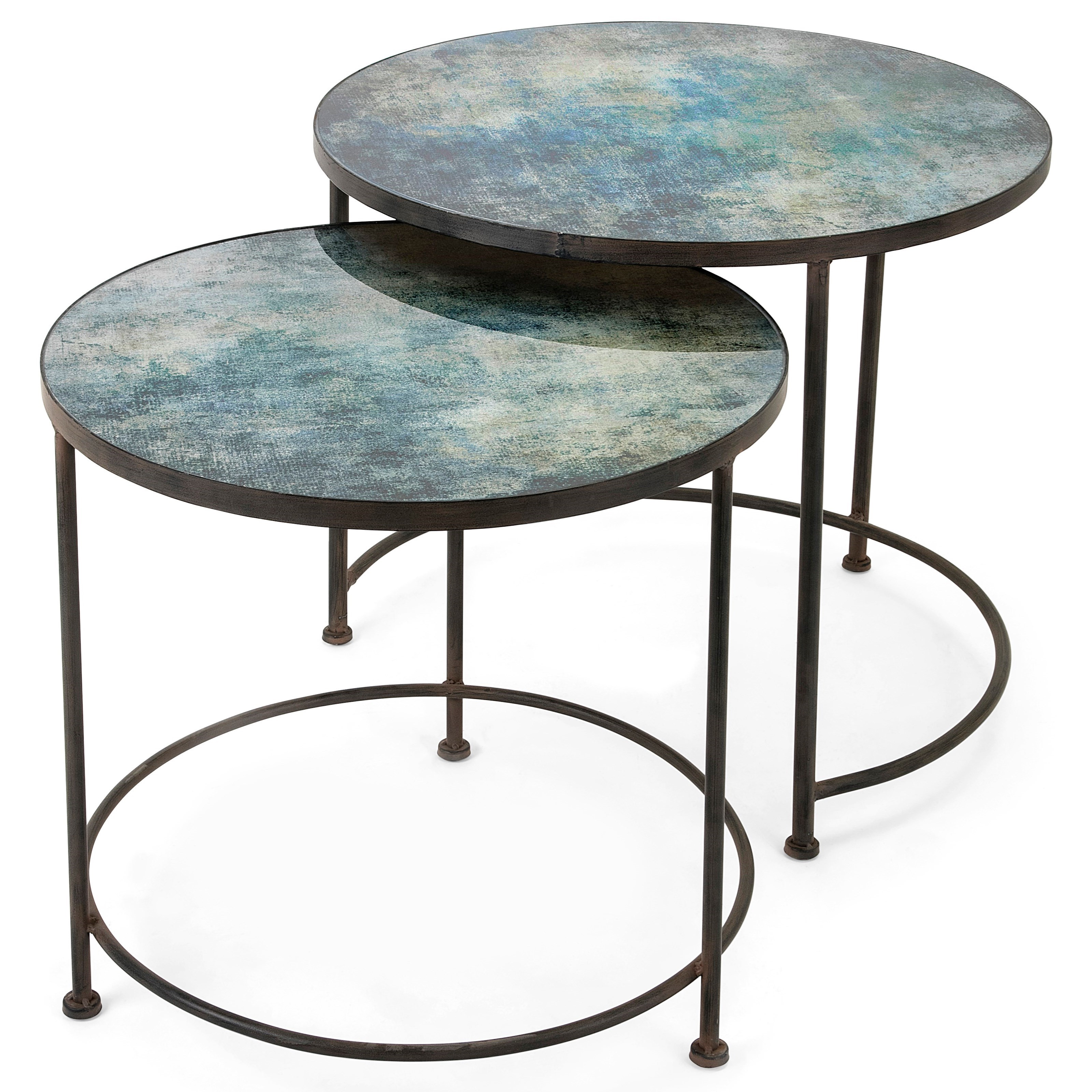 Paxton Metal and Printed Glass Tables - Set