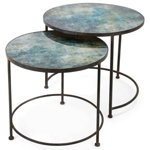 IMAX Worldwide Home Accent Tables and Cabinets Paxton Metal and Printed Glass Tables - Set