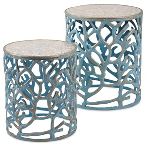 IMAX Worldwide Home Accent Tables and Cabinets Coral Mother of Pearl Tables - Set of 2