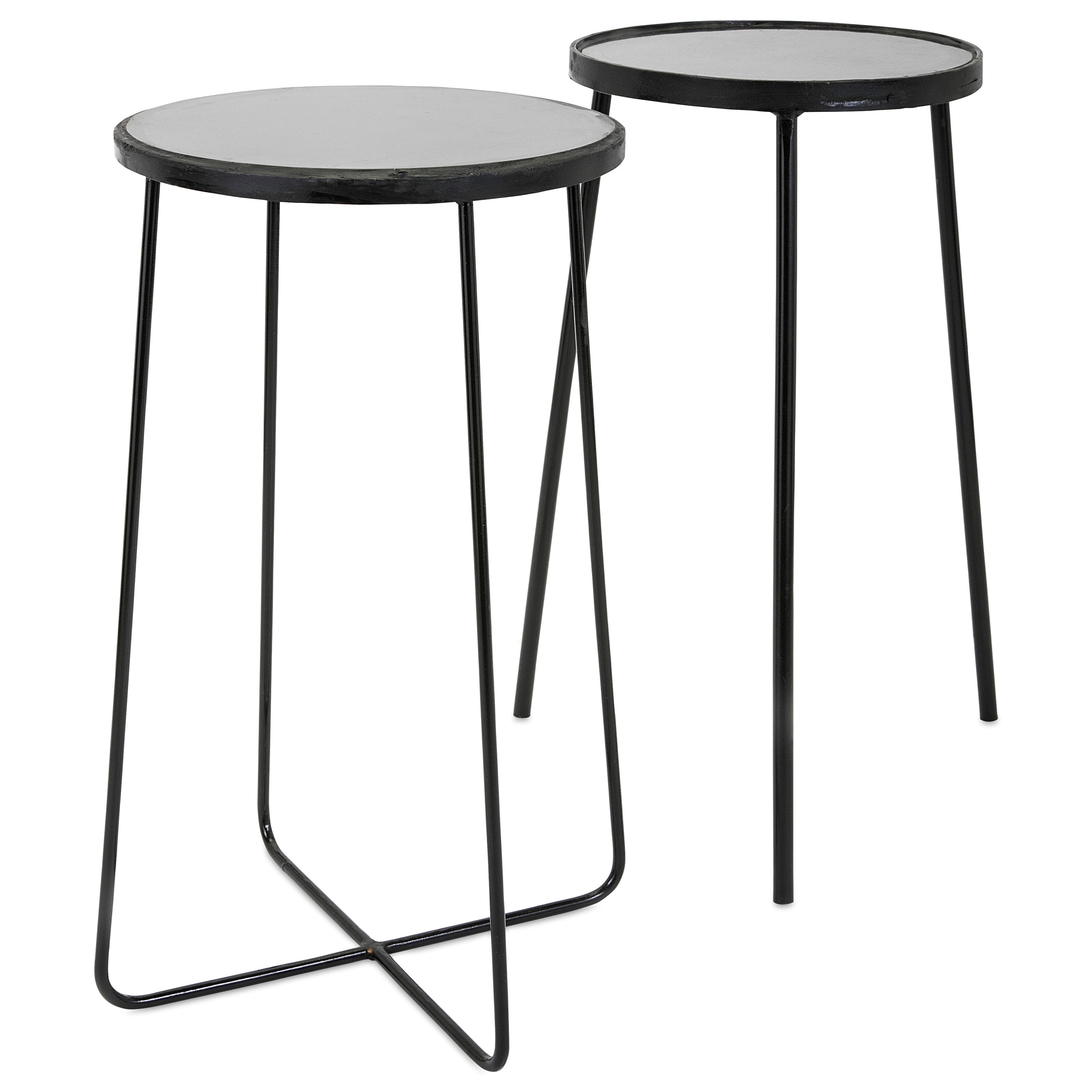 Accent Tables and Cabinets Berke Iron and Marble Tables - Set of 2 by IMAX Worldwide Home at Alison Craig Home Furnishings