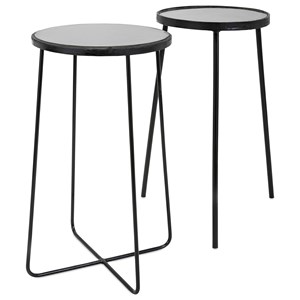 IMAX Worldwide Home Accent Tables and Cabinets Berke Iron and Marble Tables - Set of 2