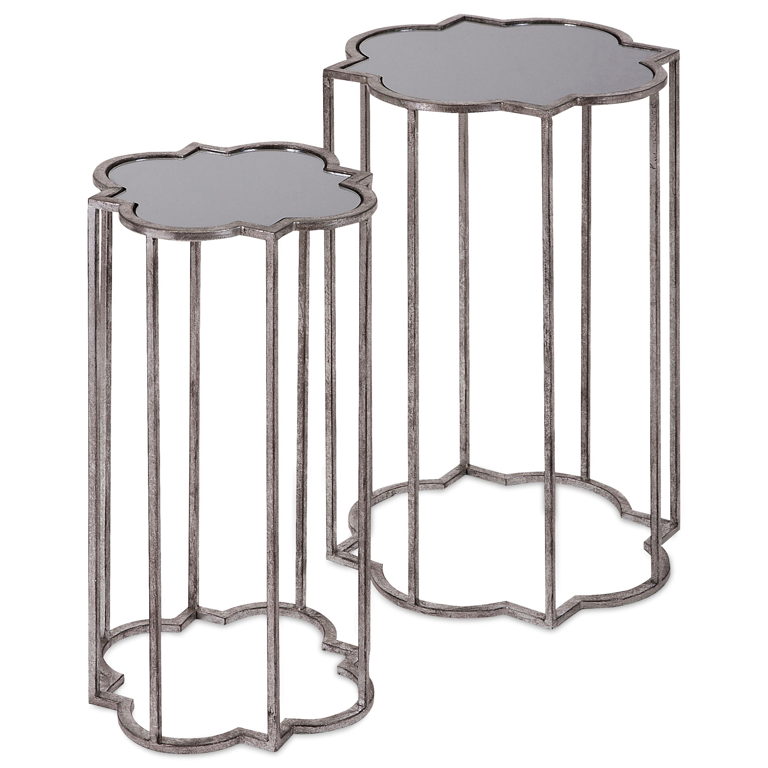 Accent Tables and Cabinets Acworth Silver Leaf Tables - Set of 2 by IMAX Worldwide Home at Alison Craig Home Furnishings