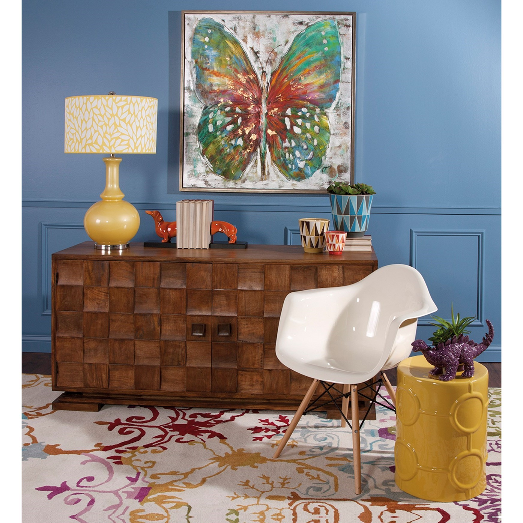 Accent Tables and Cabinets Cahan Wood Tile Buffet by IMAX Worldwide Home at Alison Craig Home Furnishings