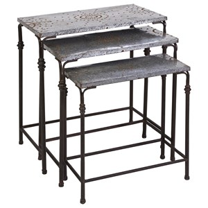 IMAX Worldwide Home Accent Tables and Cabinets Gilbert Galvanized Nesting Tables - Set of 3