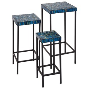 IMAX Worldwide Home Accent Tables and Cabinets Peacock Mosaic Tables - Set of 3