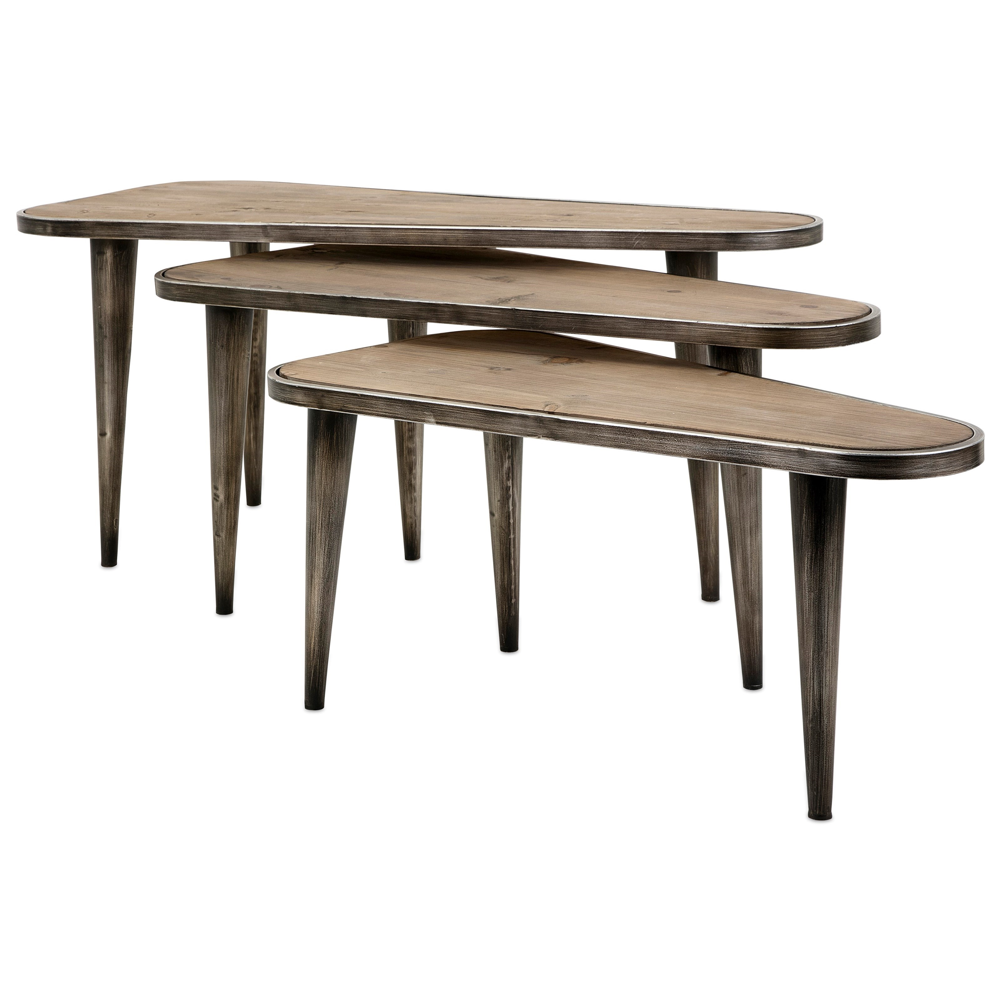 Accent Tables and Cabinets Oliver Wood and Metal Tables - Set of 3 by IMAX Worldwide Home at Alison Craig Home Furnishings