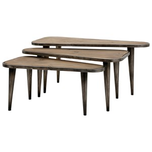 Oliver Wood and Metal Tables - Set of 3
