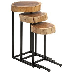 IMAX Worldwide Home Accent Tables and Cabinets Nadera Wood and Iron Nesting Tables - Set of