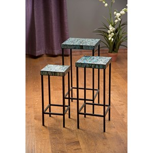 IMAX Worldwide Home Accent Tables and Cabinets Aramis Mosaic Glass Tables - Set of 3