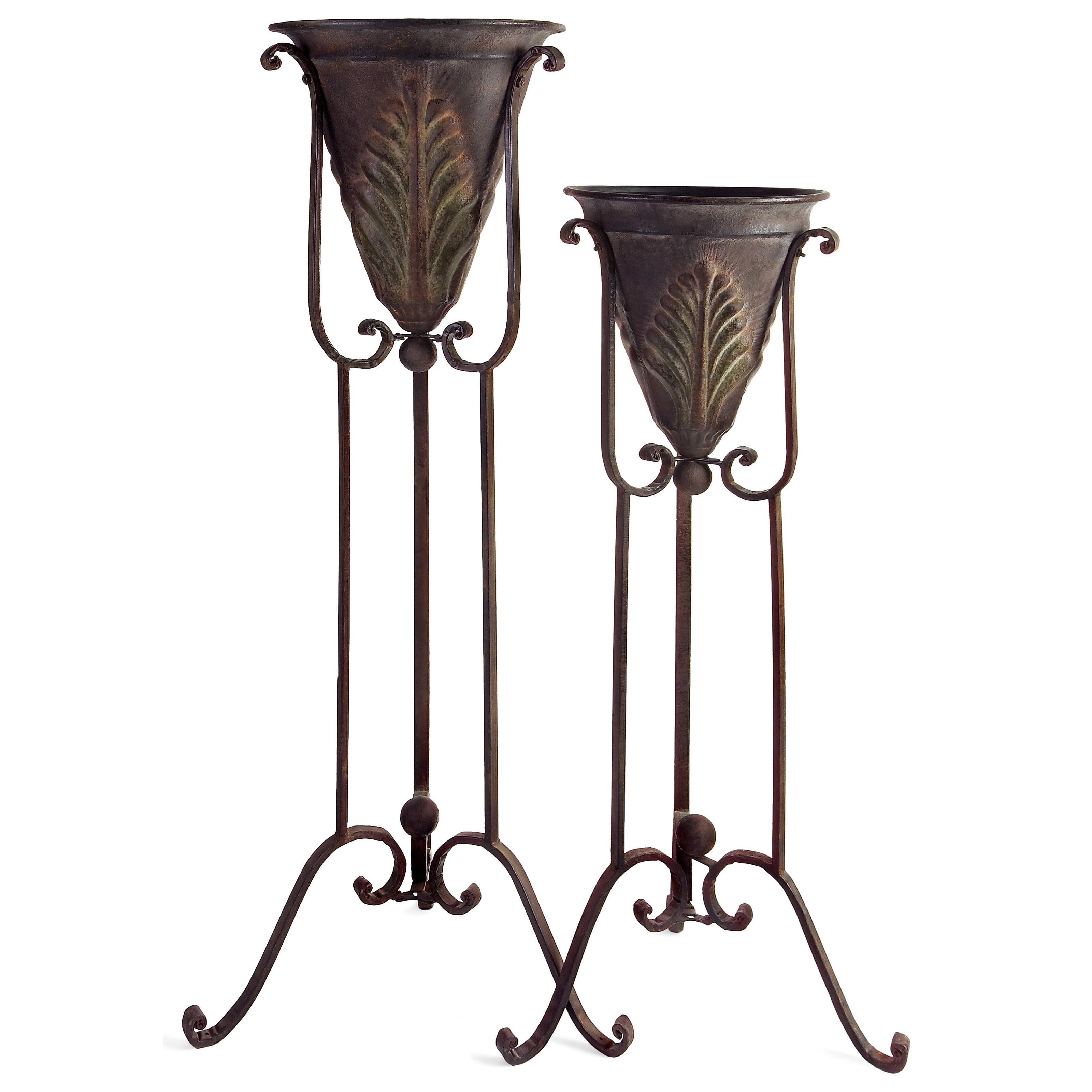 Accessories Acanthus Plant Stands - Set of 2 by IMAX Worldwide Home at Alison Craig Home Furnishings