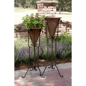 IMAX Worldwide Home Accessories Acanthus Plant Stands - Set of 2