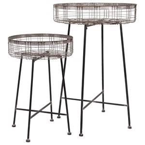 IMAX Worldwide Home Accessories Pitzer Round Wire Plant Stands - Set of 2