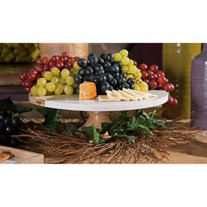 IMAX Worldwide Home Accessories Poppy Marble and Wood Cake Stand