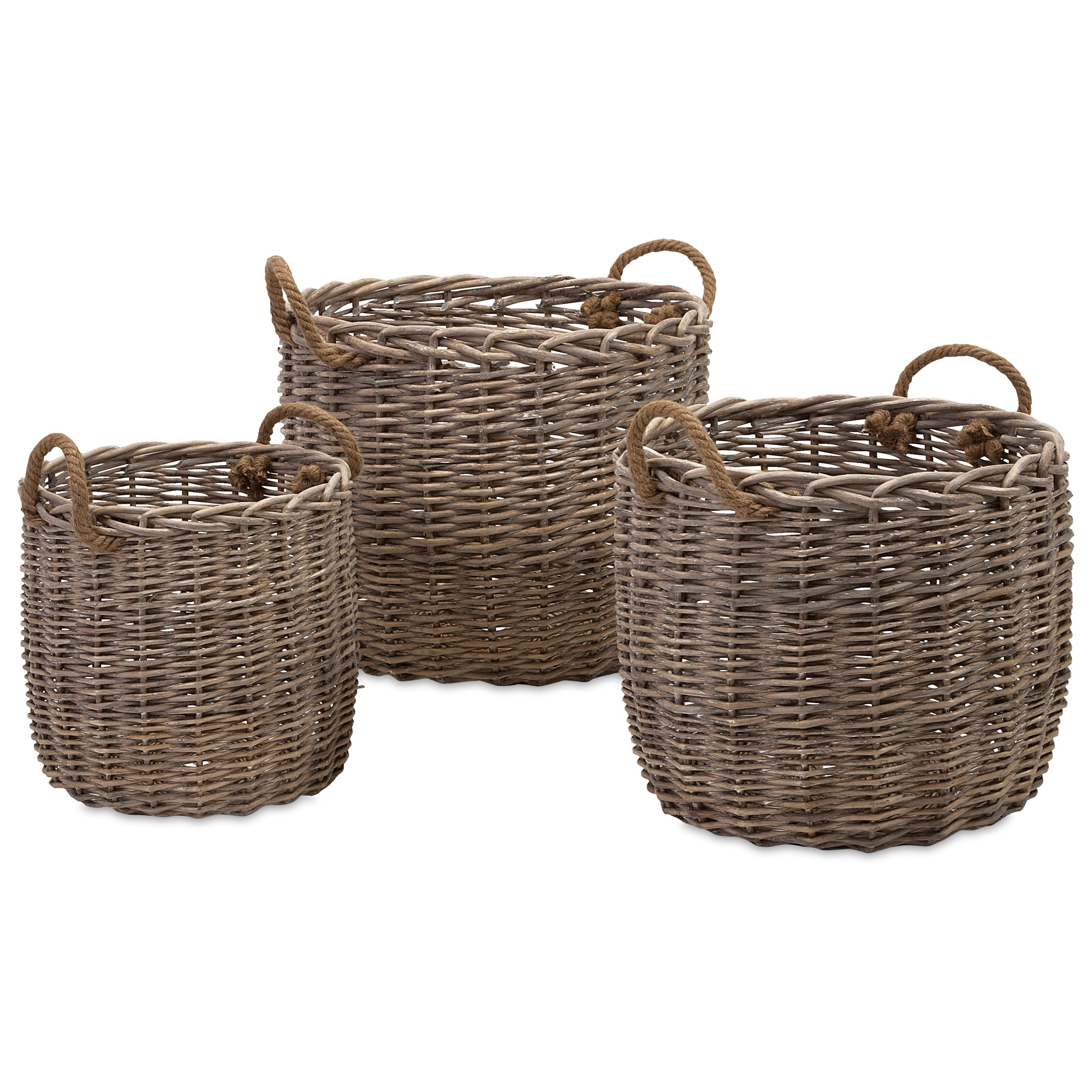 Baskets Mellie Willow Baskets - Set of 3 by IMAX Worldwide Home at Alison Craig Home Furnishings
