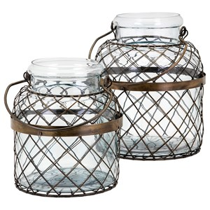 IMAX Worldwide Home Bottles, Jars, and Canisters Riley Wire Cage Jars - Set of 2