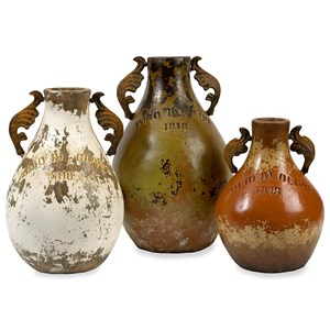 IMAX Worldwide Home Bottles, Jars, and Canisters Martine Terracotta Jugs - Set of 3