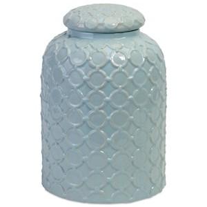 IMAX Worldwide Home Bottles, Jars, and Canisters Robin's Egg Blue Lidded Jar