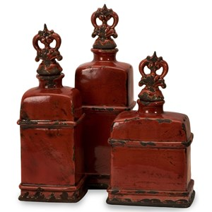 IMAX Worldwide Home Bottles, Jars, and Canisters Garnet Bottles with Finials - Set of 3