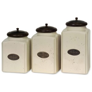 IMAX Worldwide Home Bottles, Jars, and Canisters Ivory Canisters - Set of 3