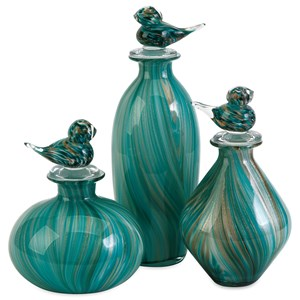 IMAX Worldwide Home Bottles, Jars, and Canisters Bellatrix Glass Bird Stopper Bottles - Set o