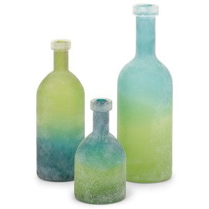 IMAX Worldwide Home Bottles, Jars, and Canisters Alena Green and Blue Glass Bottles - Set of