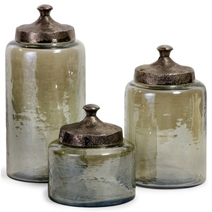 IMAX Worldwide Home Bottles, Jars, and Canisters Round Green Luster Canisters - Set of 3