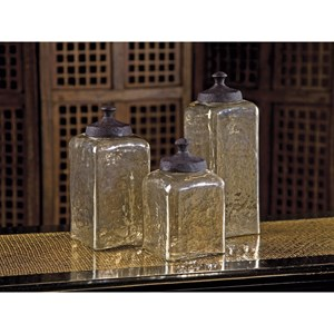 IMAX Worldwide Home Bottles, Jars, and Canisters Square Brown Luster Canisters - Set of 3