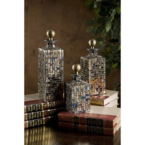IMAX Worldwide Home Bottles, Jars, and Canisters Moulin Mosaic Bottles - Set of 3