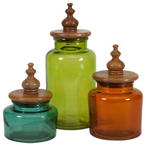 IMAX Worldwide Home Bottles, Jars, and Canisters Saburo Glass and Wood Lid Canisters - Set of
