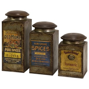 IMAX Worldwide Home Bottles, Jars, and Canisters Addie Vintage Label Wood and Metal Canisters
