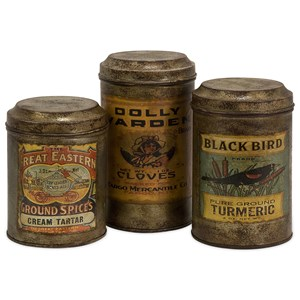 IMAX Worldwide Home Bottles, Jars, and Canisters Addie Vintage Label Metal Canisters - Set of