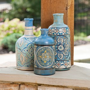 IMAX Worldwide Home Bottles, Jars, and Canisters Kabir Hand-painted Bottles