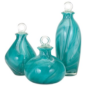 IMAX Worldwide Home Bottles, Jars, and Canisters Andes Glass Bottles with Stoppers - Set of 3