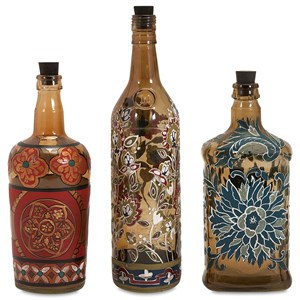 IMAX Worldwide Home Bottles, Jars, and Canisters Reclaimed Hand-painted Bottles - Set of 3