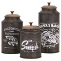 IMAX Worldwide Home Bottles, Jars, and Canisters Darby Metal Canisters - Set of 3 - Item Number: 73383-3