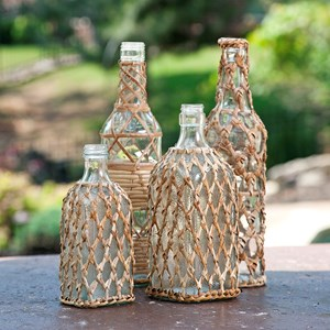 IMAX Worldwide Home Bottles, Jars, and Canisters Manitoba Rattan Glass Bottles - Set of 4