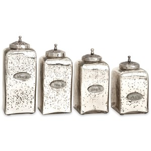 IMAX Worldwide Home Bottles, Jars, and Canisters Numbered Mercury Glass Jars with Lids - Set