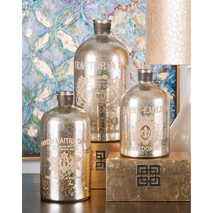 IMAX Worldwide Home Bottles, Jars, and Canisters Veneta Mercury Glass Jugs - Set of 3