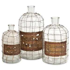 IMAX Worldwide Home Bottles, Jars, and Canisters Dimora Wire Caged Bottles - Set of 3