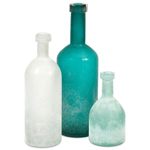 IMAX Worldwide Home Bottles, Jars, and Canisters Russell Handblown Glass Bottles - Set 3