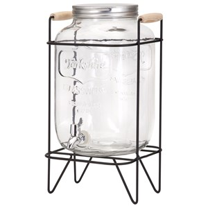 IMAX Worldwide Home Bottles, Jars, and Canisters Nantucket Glass Jar Drink Dispenser with Sta