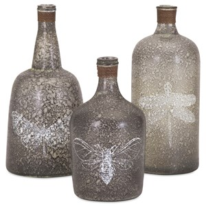 IMAX Worldwide Home Bottles, Jars, and Canisters Folly Glass Bottles - Set of 3